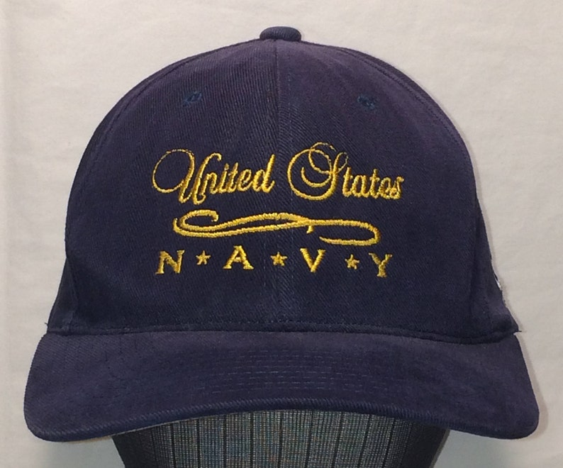 683f24c66530f Vintage New Era Snapback Hat United States Navy Baseball Cap
