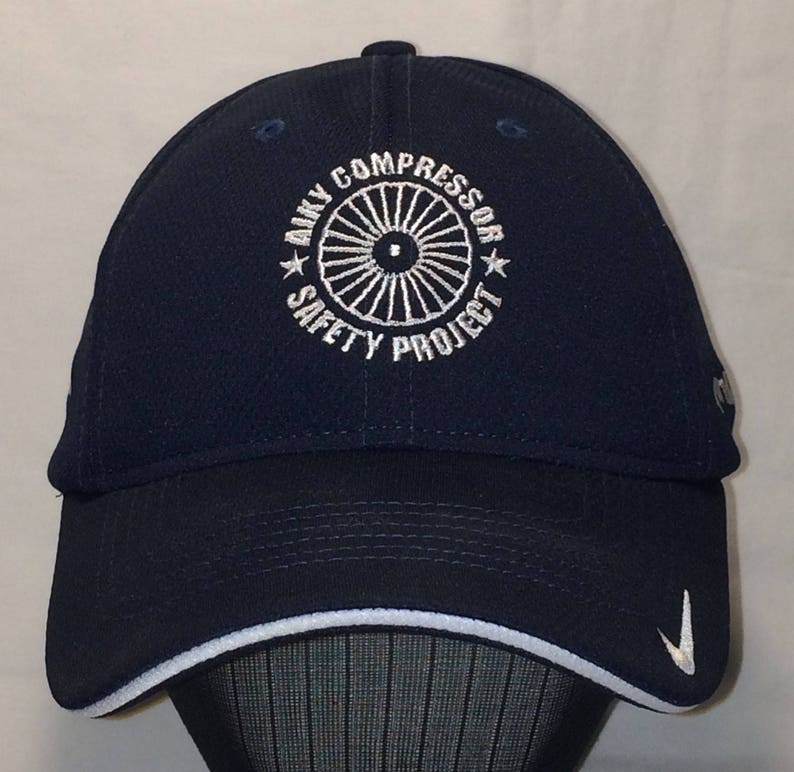 0ccb2348b Vintage Nike Golf Hat Mens Baseball Cap Embroidered Blue White Stretch Fit  S/M Hats Aiky Compressor Safety Project ExxonMobil Caps T66 S7081