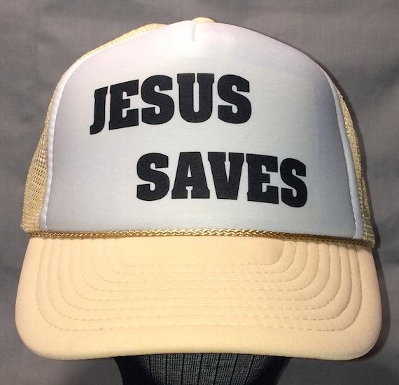 Vintage Trucker Hat Rope Mesh Snapback Hat Jesus Saves  55267489bf9