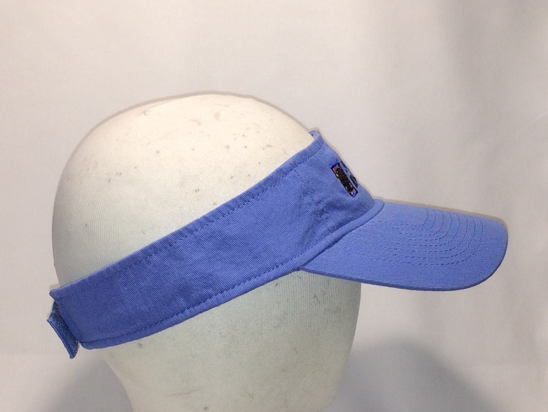 78fb5e4ed00b4 Vintage Sun Visor Hat Blue Black Pink North Myrtle Beach Hat