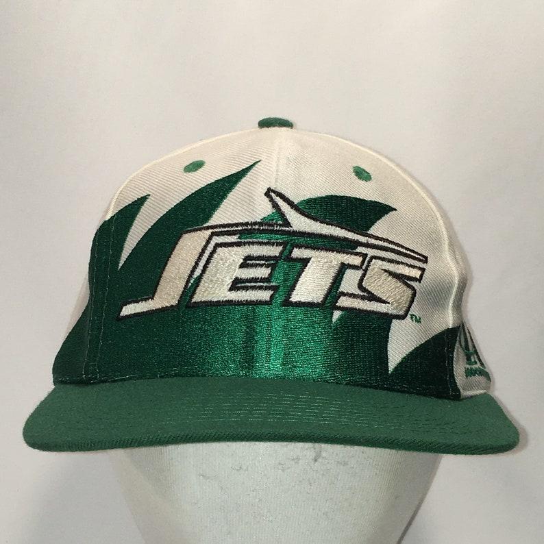 Vintage Snapback NY New York Jets Hat Green White Shark Tooth  4451ded80c27