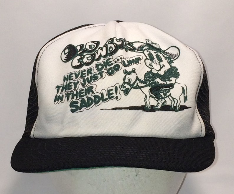 8f18e246148 Vintage Mesh Snapback Hat Fun Country Western Cowboy Sayings