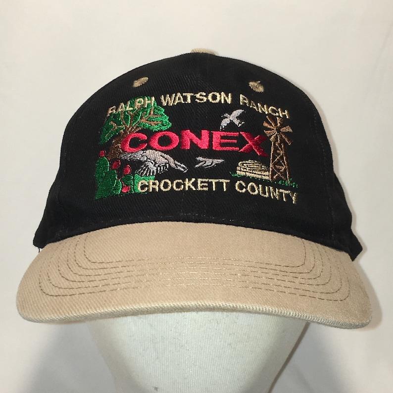 Vintage Conex Strapback Hat Black Tan Baseball Caps Ralph  82749cf8a3f8
