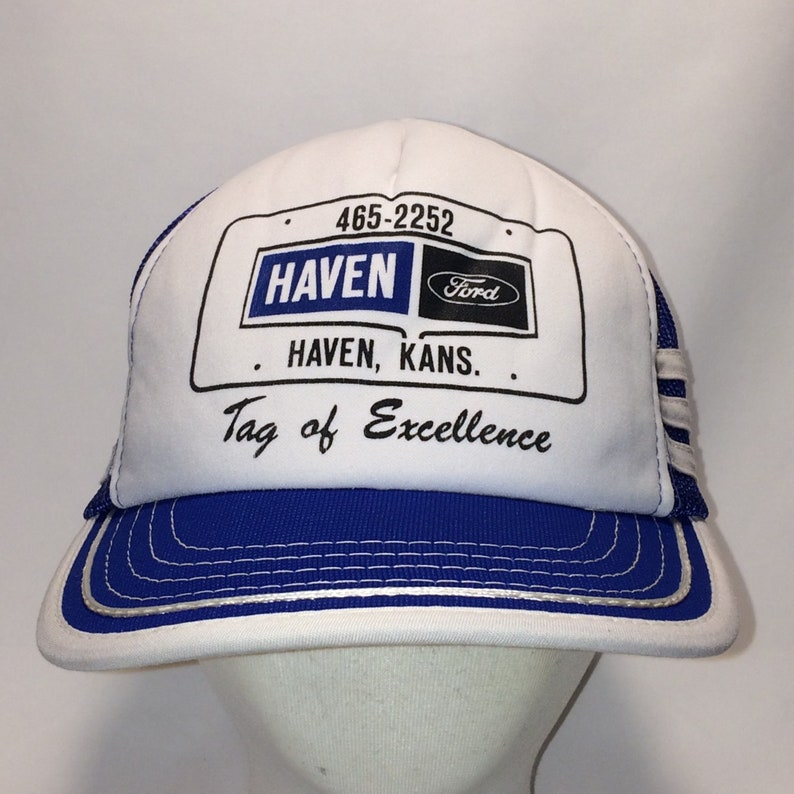 1b3e1b84038 Vintage Trucker Hat Haven Ford Snapback Hat Blue White Hats
