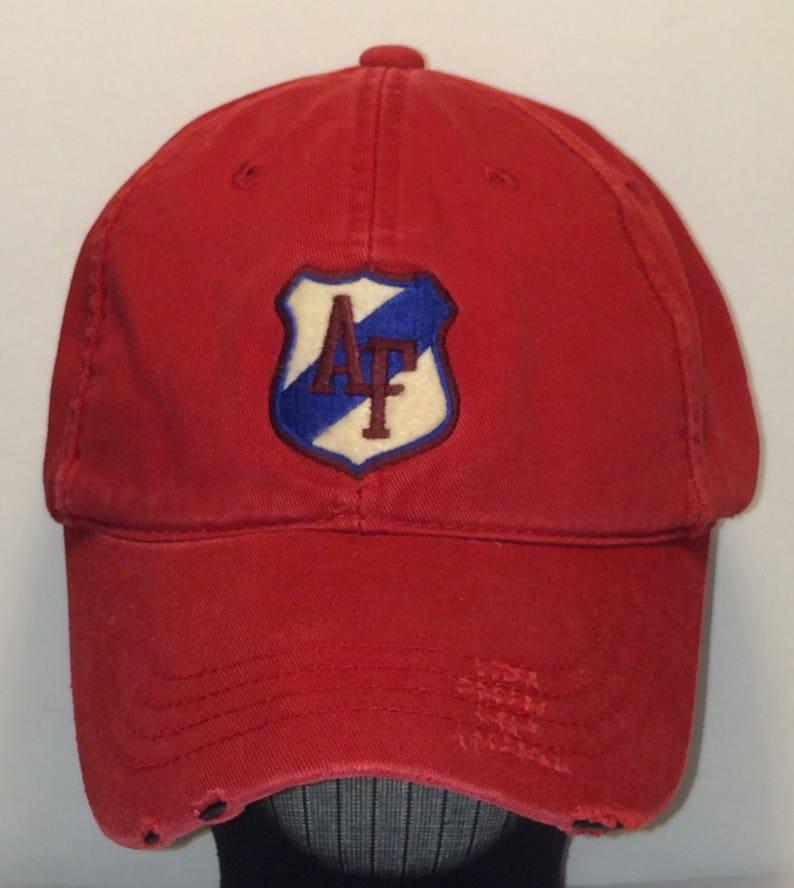 fa74f058f16b7 Vintage Hats Baseball Cap AF Strapback Hat Red Cotton