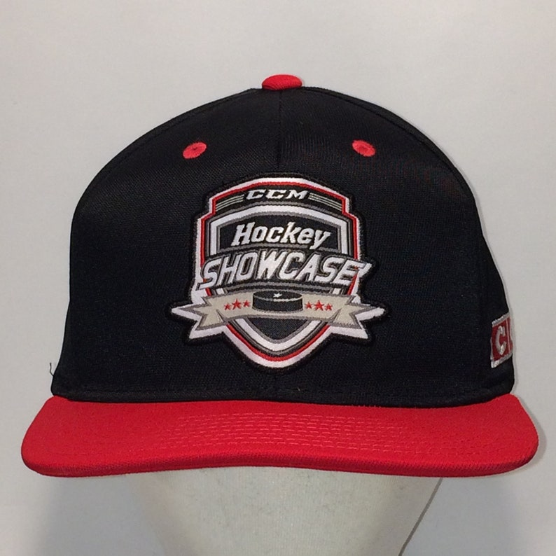 291bb88c887f6 Vintage Hockey Showcase Snapback Hat Black Red Baseball Cap