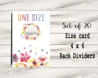Clothing Rack Price Hanging Dividers, Clothing Name Style Divider for Clothes Racks, Size Hanger Tags - watercolour