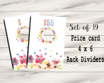 Clothing Rack Price Hanging Dividers, Clothing Name Style Divider for Clothes Racks, Hanger Tags - watercolour