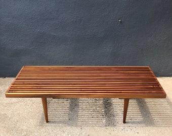 Charmant Walnut Slat Bench By Mel Smilow Newly Refinished Mid Century Modern *READ  FULL DESCRIPTION*