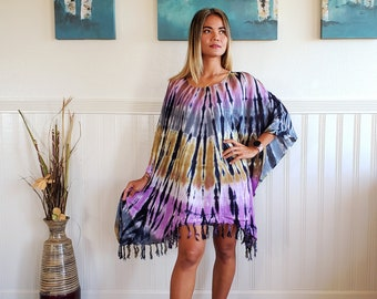 Oversized Dress Beach Tunic Style Purple Tie dye Size SM
