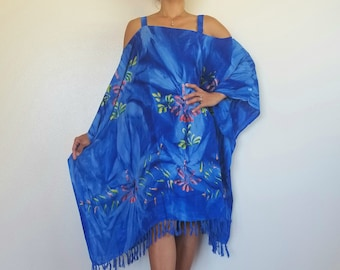 14535b7c32 New Hawaiian Blue   Turquoise Floral Caftan Tunic Beach Cover Up With  Shoulder Straps Tropical One Size Fits S M L XL 1X 2X