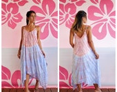 Long Bohemian Style Tie Dye Handkerchief Dress With Pockets Adjustable Tie Straps One Size Fits S-L