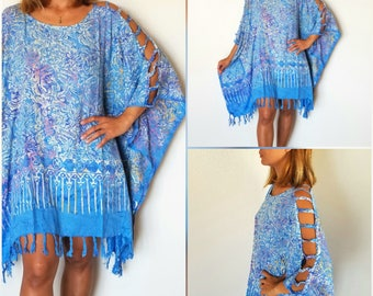 24bf2a201cce7 New Batik Open Shoulder Tunic Poncho Beach Cover Up One Size Fits S M L XL  1X 2X