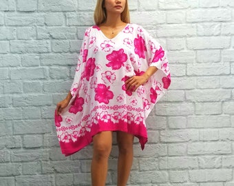 604751dbba New Hawaiian Hibiscus Floral Caftan Tunic Beach Cover Up Tropical One Size  Fits S M L XL 1X 2X