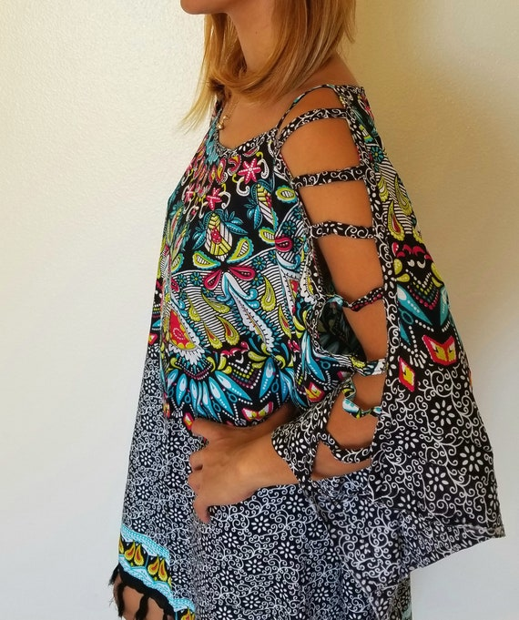 Nouveau Mandala Ouvert Epaule Tunique Caftan De Plage Cover Up One Size Fits S M L Xl 1 X 2 X