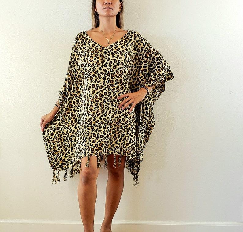 New Animal Print V-Neck Poncho Tunic Caftan Beach Cover Up Boho One Size Fits S M L XL 1X 2X