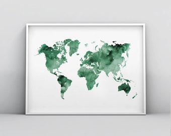 Green World Map Etsy