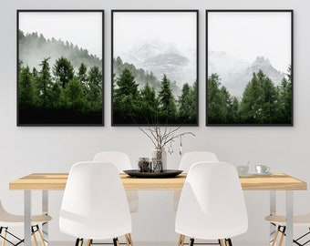 Set Of 3 Forest Print Landscape Art Green Printable Nature Piece Wall Modern Minimalist Misty Decor