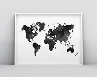 Black watercolor map etsy world map wall art world map poster watercolor world map print black and white world map scandinavian print map poster printable decor gumiabroncs Gallery