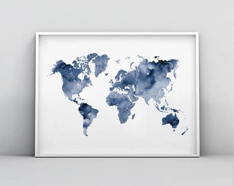 Navy blue map etsy blue world map printable indigo map print navy map poster abstract world map wall art navy blue watercolour world map print digital art gumiabroncs Images