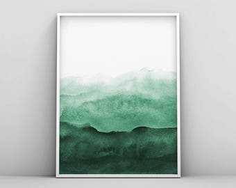 Nice Abstract Wall Art Print, Green Painting, Emerald, Teal Decor, Modern  Minimalist, Watercolour, Printable Digital Download, Large Poster