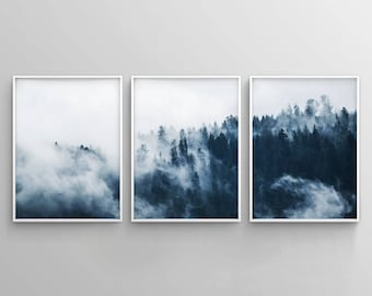 navy blue wall art etsy