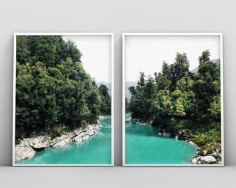 Beach Wall Decor, Teal Landscape, 2 Piece Landscape, Photography Print, Gift For Him, Large Wall Art, Blue Green, Set of 2 Modern Home Decor