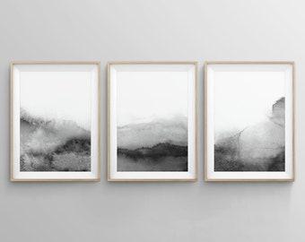 Set of 3 Black and White Prints, Abstract Printable Print Set, Black and White Wall Art, Grey Modern Watercolour Art, Bedroom Print Set, Zen