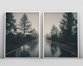 Landscape Printable, Symmetry Photography, Rustic Nature Print, Scenery Set of 2 Photography, Road, Forest, Trees Wall Art, Home Decor