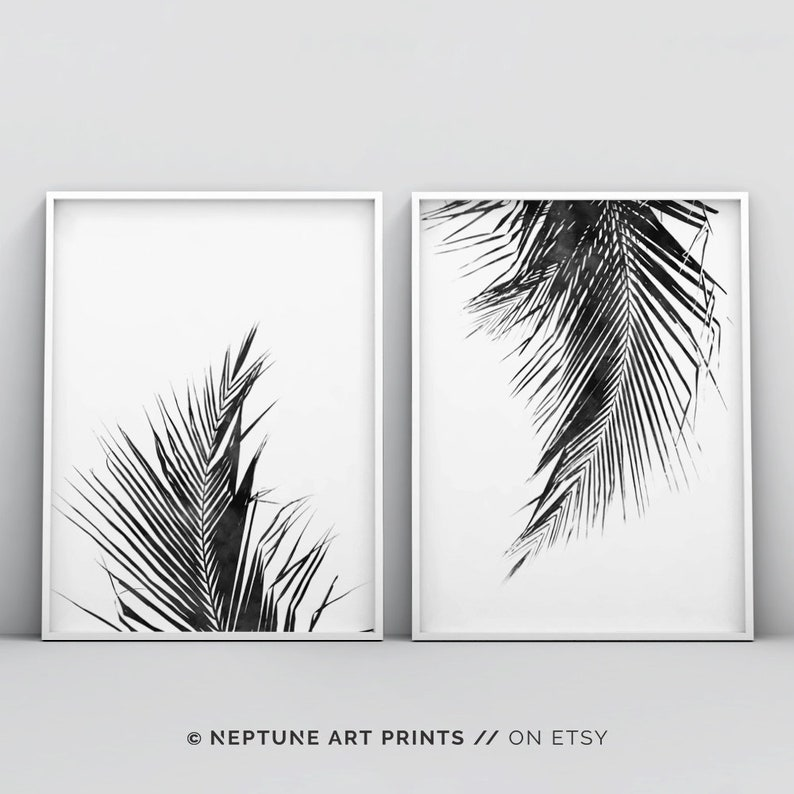 graphic relating to Palm Leaf Printable named Palm Leaf Print, 2 Piece Palm Leaf Printable, Tropical Leaf, Zen Wall Print, Palm Leaf Artwork Print, Black and White Palm Leaf Print, Preset of 2