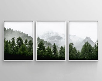 3 Piece Forest Wall Art Print, Set of 3 Forest Landscape Art, Green Forest Printable, Nature Printable, Modern Art, Minimalist, Misty, Decor