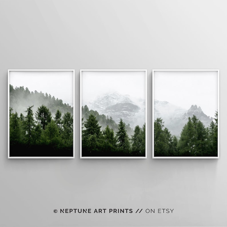 3 Piece Forest Wall Art Print Set of 3 Forest Landscape Art image 0