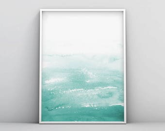Watercolor Print, Abstract Art, Teal Abstract Watercolor, Abstract Painting, Wall Art, Printable, Art Print, Ocean Inspired, Home Decor