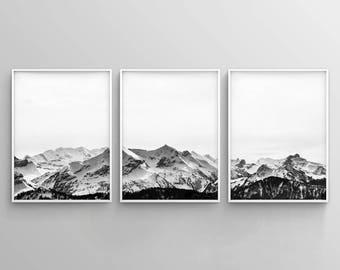 Mountain Art Print, Black White Wall Art, Set of 3 Prints, Mountain Poster, 3 Piece Wall Art, Landscape Prints, Snow Mountain Art, Nature
