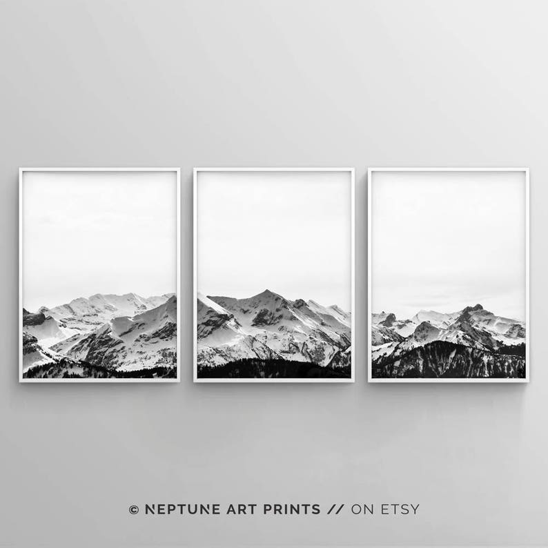image about Etsy Printable Wall Art named Black and White Mountain Print, Mounted of 3 Snow Mountain Printable, Wall Artwork, 3 Piece Poster, Minimalist, Innovative Landscape House Decor, Electronic
