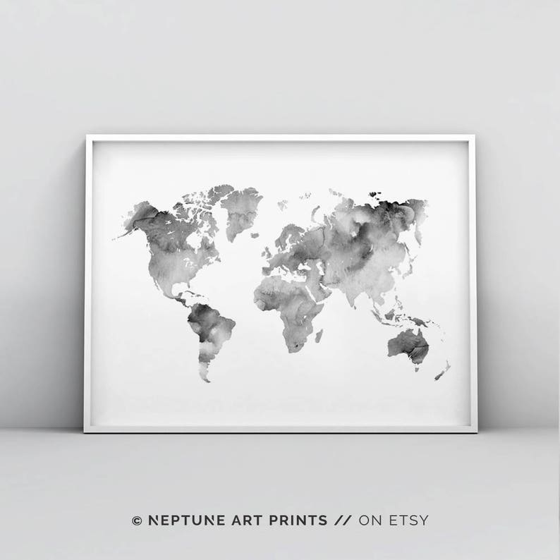 photo regarding World Map Printable Black and White identify Gray And White World-wide Map Printable, Impressive Map Print, Map Poster, Worldwide Map Wall Artwork, Planet Map Poster, Watercolour, Environment Map Print Electronic