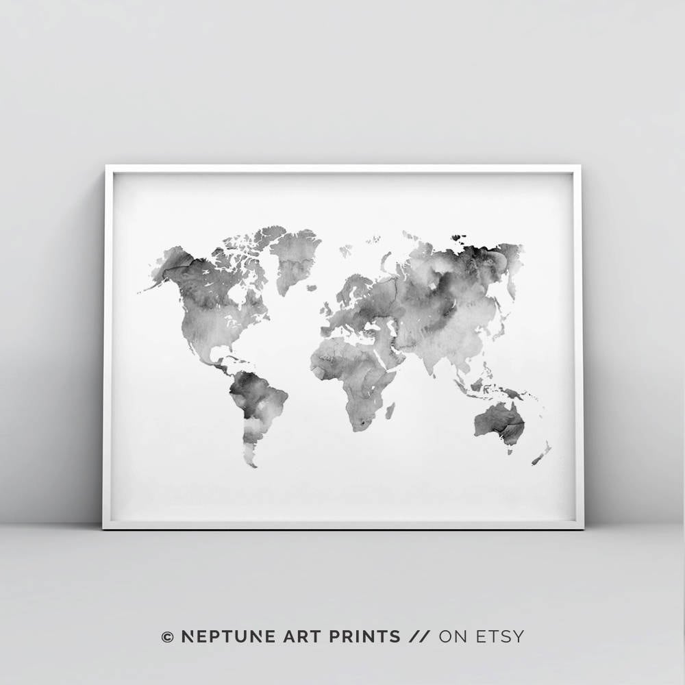 image about Black and White World Map Printable referred to as Gray And White International Map Printable, Impressive Map Print, Map Poster, International Map Wall Artwork, International Map Poster, Watercolour, Worldwide Map Print Electronic