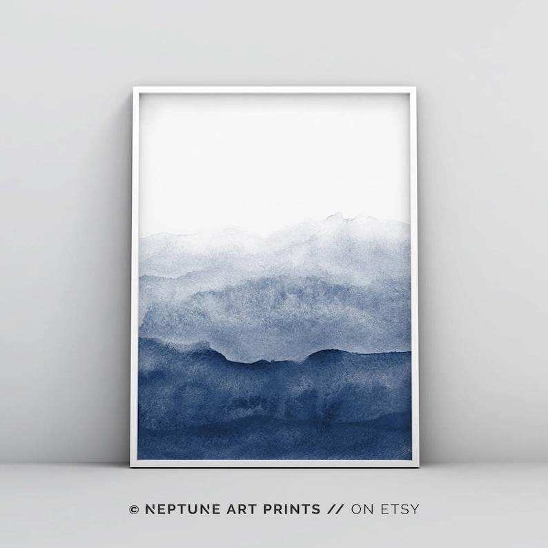 graphic about Etsy Printable Wall Art called Watercolor Print, Indigo Wall Artwork, Watercolour Printable, Summary Portray, Progressive Minimalist, Army Blue Decor, Dim Blue, Enormous Wall Artwork