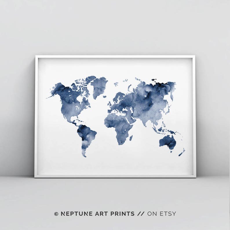 Blue World Map Printable Indigo Map Print Navy Map Poster Etsy