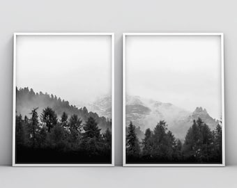 2 Piece Black and White Woodland Printable, 2 Piece Forest Print, Forest Photography Printable, Wilderness Wall Art, Mountain Poster Decor