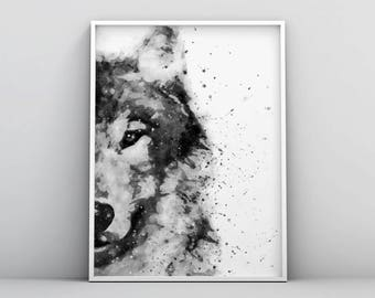 Wolf Watercolor, Wolf Painting, Wolf Poster, Black and White Watercolour, Digital Download, Woodland Decor, Forest Animal Modern Printable