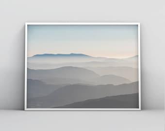 Abstract Blue Grey Mountains Printable Wall Art, Digital Download, Home Decor, Living Room Art, Bedroom Art, Nursery Poster, Landscape Art