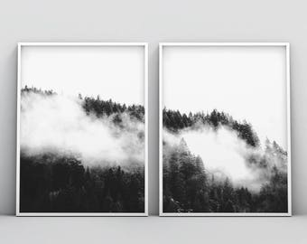 Misty Forest, Mist Mountain Photography, Fog Photo, Landscape Poster, Nordic Prints, Minimalist Wall Art, Instant Download Digital Picture