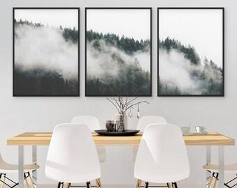 Minimalist Forest Print, Tree Wall Art, Set of 3 Forest Print, Green Forest Printable, Nature, 3 Piece Wall Art, Modern Home Decor, Poster