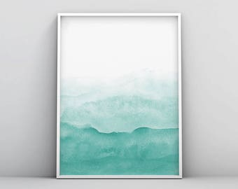 Teal Wall Art Print, Abstract Painting, Modern Minimalist Poster, Emerald Green, Watercolour, Large Printable Digital Download, Green Decor