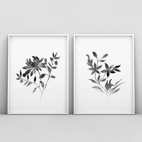 Set of 2 Black and White Flower Wall Art Poster Printable | Etsy