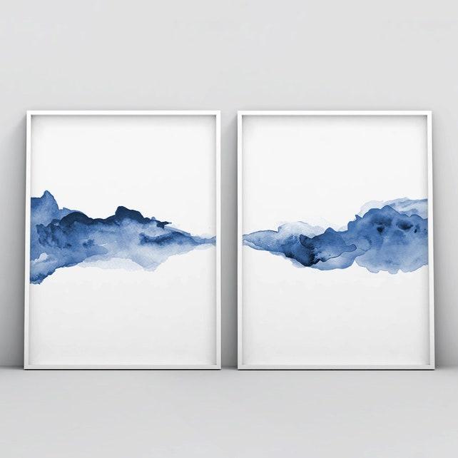 Conjunto de 2 impresión abstracta cartel 2 piezas azul   Etsy