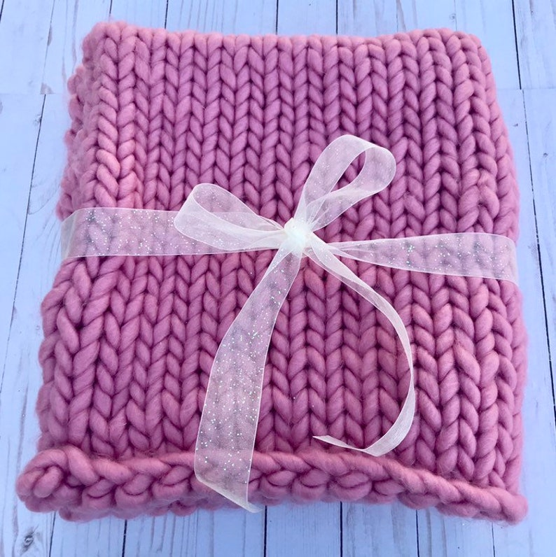 Baby Blanket Knitted Blanket Pink Chunky Knit Heavy Baby Blanket