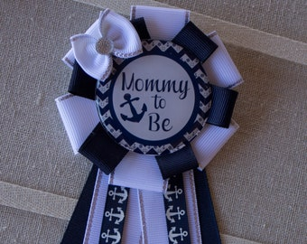 Navy Blue and Yellow Nautical Mommy to Be Ribbon Pin Corsage Baby Shower