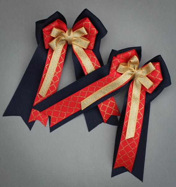 Navy /& Red Satin *New* Junior Rider Equestrian Hair Ribbon Bow